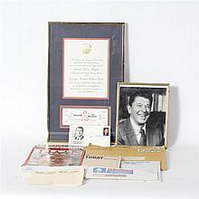 Lot of Ronald Reagan Memorabilia Including Autographed Framed Photo and Inauguration Invitation and Ticket