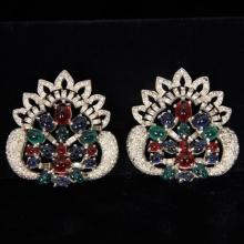 Pair Art Deco Pave and Cabochon glass jewels Shoe Clips; Unmarked.