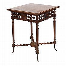Victorian Aesthetic Hunzinger style stick and ball square occasional table;