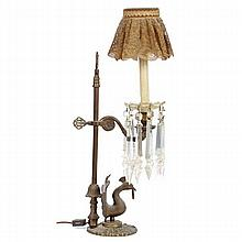 Bronze candle lamp with peacock bird figure; adjustable, figural medallion finial.