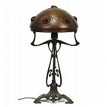 Austrian Art Nouveau metal jewel shade lamp with hammered texture.