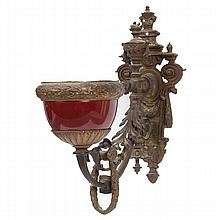 French Empire bronze ormolu wall sconce with oxblood porcelain bowl.