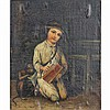 Continental genre type painting of a street urchin / begger child with accordion and monkey.