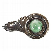 Mexican modernist sterling silver hollow brooch pin with green onyx cabochon.
