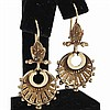 Rose gold 14K Egyptian revival pierced dangle earrings.
