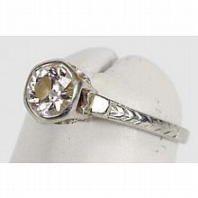 White gold 18K Art Deco estate diamond solitaire wedding ring.