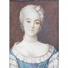 French ivory portrait miniature of the Empress Marie Louise.