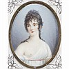 French portrait miniature on ivory of a semi-nude woman signed Rene