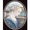 Italian Renaissance style ivory portrait miniature of a young lady.