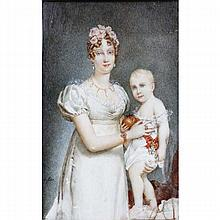 French ivory portrait miniature depicting mother and child: Empress Marie Louise with Napoleon II,