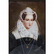 Richard Cosway, RA (British, 1742-1821), Elizabethan noble woman, portrait on ivory, Portrait; 5 1/2