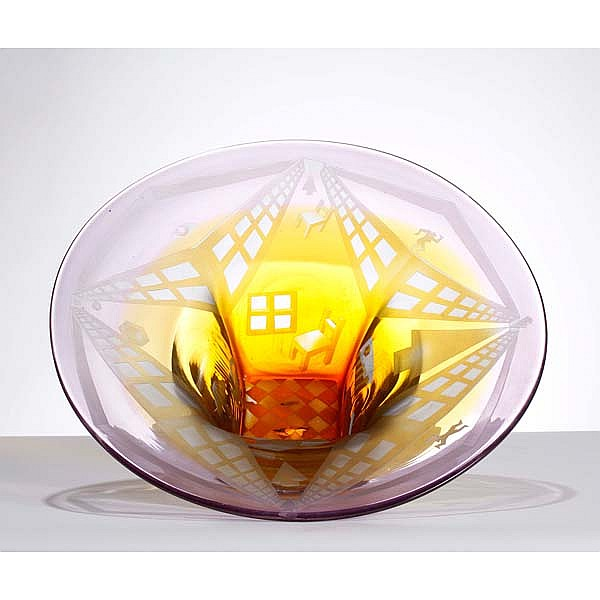Steve Tobin, (American, b. 1957), Manhattan Series Bowl, blown glass, 21