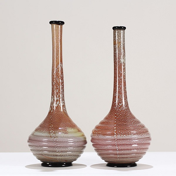Seguso Vetri d'Arte art deco Murano glass vases, designed by Flavio Poli, pair, c.1938.