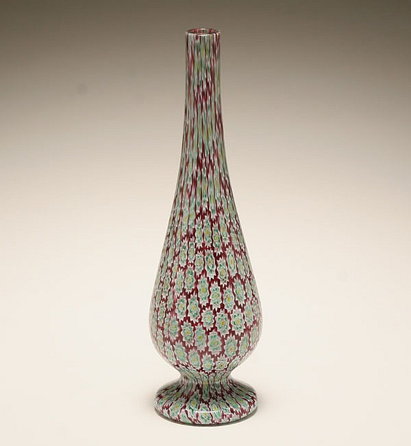 Murano millefiori art glass vase, probably by Fratelli Toso.