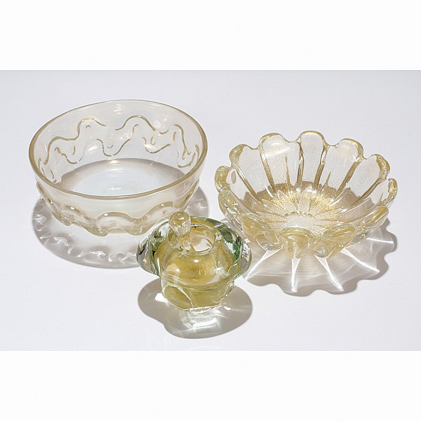Murano glass bowls, probably from Barovier and Toso.