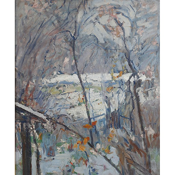 William Forsyth, (American; 1854 - 1935), Winter Landscape, Oil on board, 24