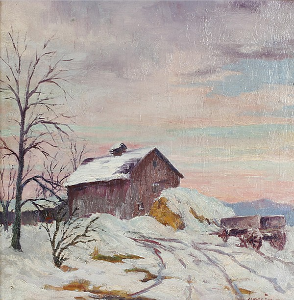 James Eccles, (Illinois/Indiana;1885-1983), barn in Brown County winter landscape at sunset., oil on canvas, 20