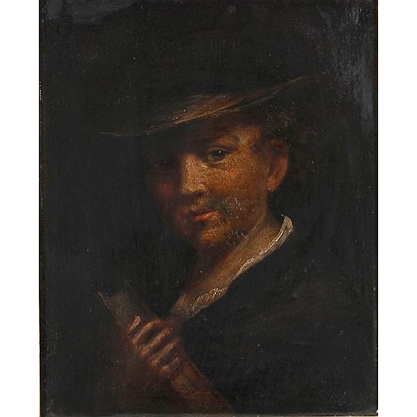 Dutch School portrait of a boy holding a book, late 18th/early 19th Century.