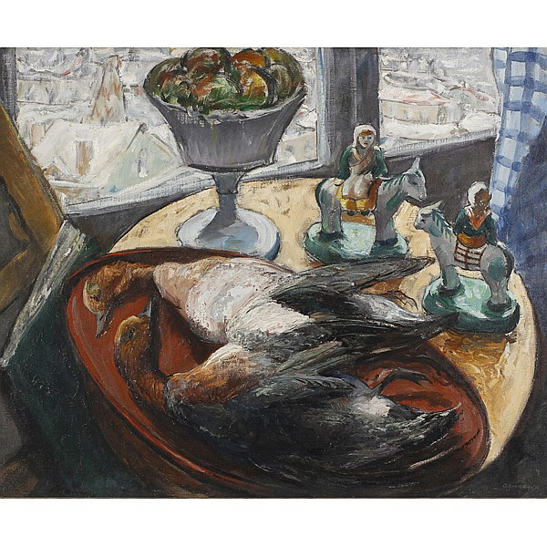 Oscar Giebarich, (1886 - ), Still life, Oil on canvas, 29 1/2