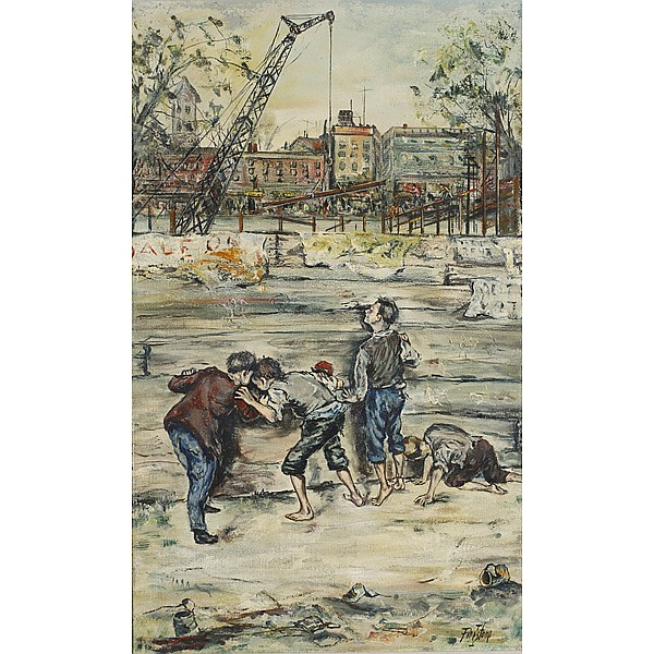 Isadore Firestone, (Cleveland/Pittsburgh; 1894 - 1979), Boys playing, Oil on masonite, 36