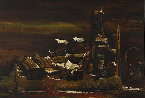 Raphael Gleitsmann, (American/Ohio; 1910 - 1995), Substance of a Town, Oil on board., 27 1/2