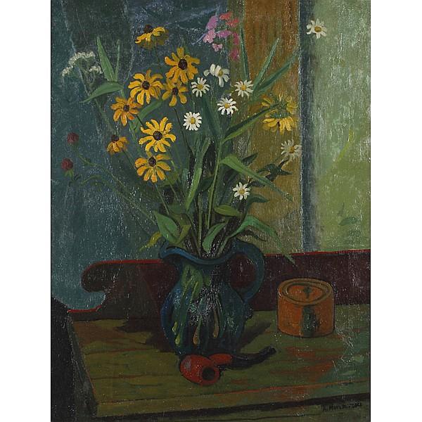 Alex Minewski, (American; 1917 - 1979), Still life with pipe, Oil on canvas, 26