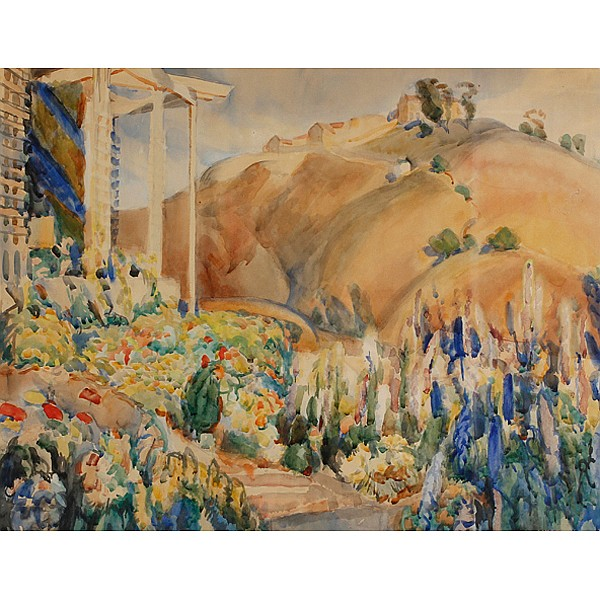 Edouard A. Vysekal, (American; 1890 - 1939), My Flower Garden, Watercolor on paper, 18
