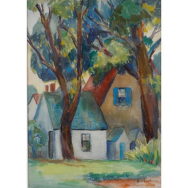 Jesse Beard Rickly, (American; 1895 - 1975), St. Genevieve Landscape, Watercolor on paper, 14