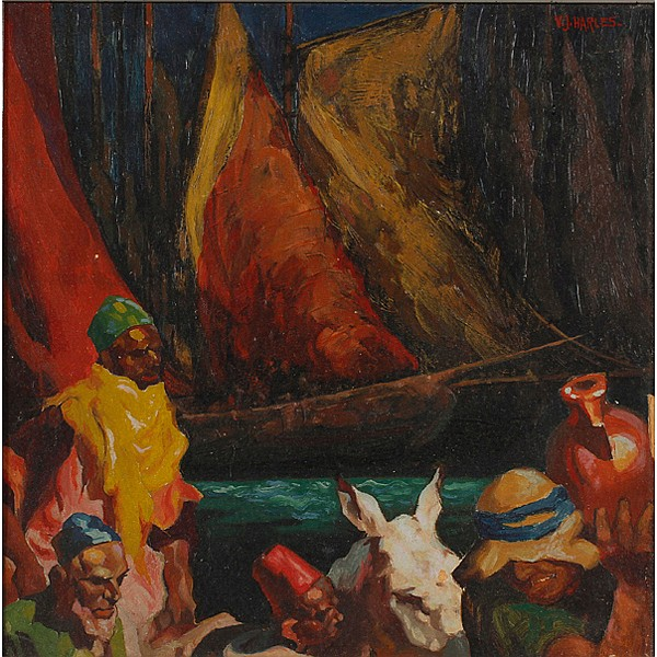 Victor Harles, (American; 1894 - 1975), North African Scene, Oil on board, 11 1/2