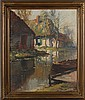 Kees Terlouw, (Netherlands; 1890 - 1948), cottages on the river, oil on canvas, 24