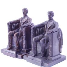Assembled pair of Jennings Brothers Bronze Daniel French Lincoln Memorial bookends.