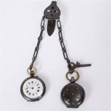 Edwardian Gunmetal Sovereign Compact Case & Sida Pocket Watch with key on fob chain ; Antique Chatelaine Accessory.
