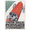 Frederico Seneca (Italian, 20th Century) Coppa Della Perugina, auto racing color lithograph poster,