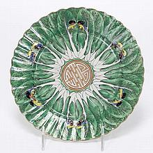 Chinese Export famille vert porcelain plate; 19th Century