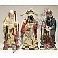 Chinese painted porcelain figures, the three wise men; Fuk Luk Sau;