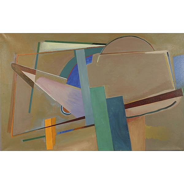 Doris Vlasek-Hails, American, 1938-2004, Angularity, Acrylic on linen, 48