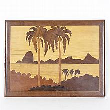 Scenic marquetry plaque/panel with inlaid beach and palm trees.