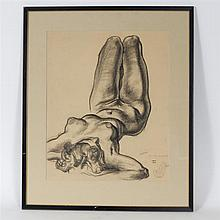Reynold Henry Weidenaar, (American, Michigan;1915-1985), Lower Thigh, Charcoal, 21 1/4