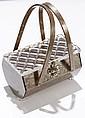 Vintage gray pearloid Lucite purse;