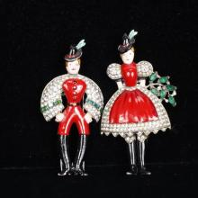 Trifari Alfred Philippe 2pc. Pave Enamel Fur Clip Set 'Peter' and 'Helen' Man & Woman Couple in Swiss Costume, 1939.