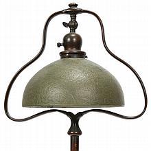 Handel floor lamp, green chipped ice glass shade