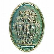 Zsolnay Hungarian art pottery oval plaque with The Three Graces; female nude figures in relief with iridescent glaze.