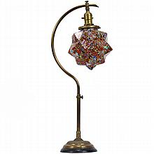 Adjustable brass table lamp with Czech End of Day glass geodesic star globe shade, c.1920s.