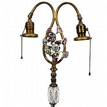 Victorian style dual light floor lamp with polychromed wrought iron, glass and porcelain floral ornament.