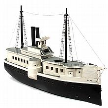 Large painted wooden model of a steam engine passenger boat.