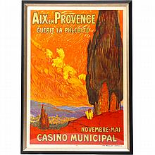 Marcel Feguide, (French; 1888-1968), Aix en Provence - Casino Municipal , lithograph travel poster ca. 1920, Image: 47 3/4