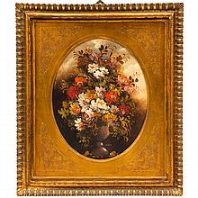 Dutch 19th Century floral still life signed Van Thoren in oval gilt framing.