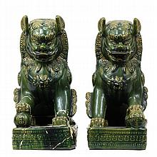 Pair large Chinese green glaze porcelain Foo Dog statues.