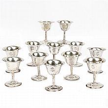 Twelve weighted sterling silver stemware cocktail or port wine goblets.