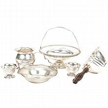 Six pieces sterling and coin silver; sterling Lebkuecher pad footed dish, two baskets by Candlewick